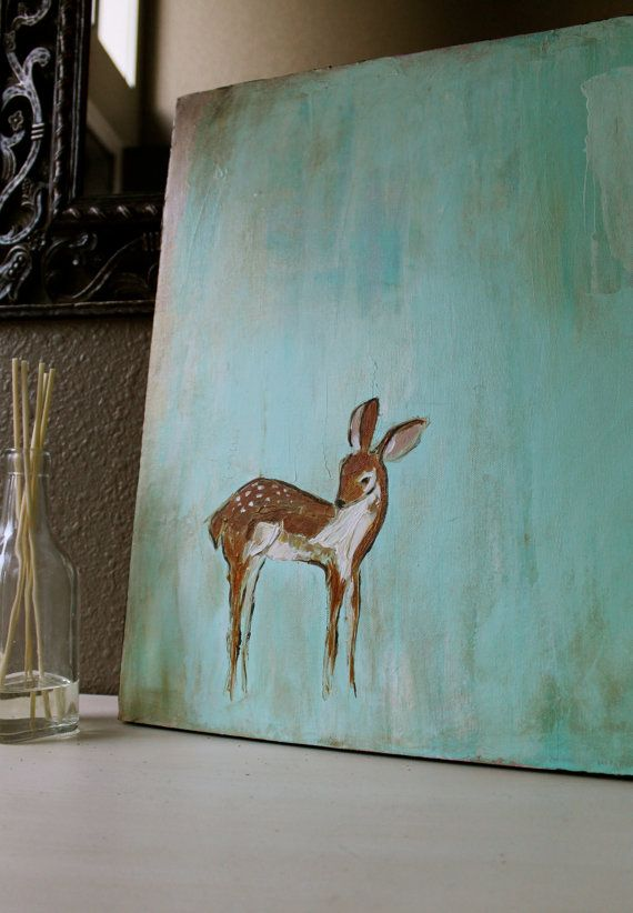 Love that Background! My Baby Deer (Large original painting, fawn with spots on aqua background for babys room)