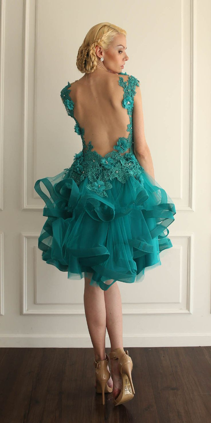 Organza Ball Gown Tulle Turquoise Homecoming Dresses Open Back V Neck Ruffles Tiers 2017 Prom Dresses Short Party Dresses