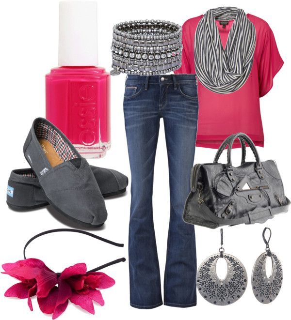 Casual OutfitColors Combos, Fashion, Casual Outfit, Style, Tom Shoes, Clothing, Hot Pink, Grey, Pink And Gray