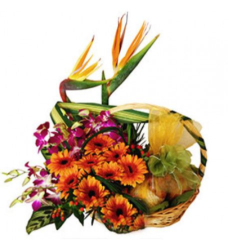 Basket Mix Seasonal Fruit Basket Mix Seasonal Fruit garnish with Gerberas & Orchids.  We reserve to replace the flowers to same / higher value depends on the availability.