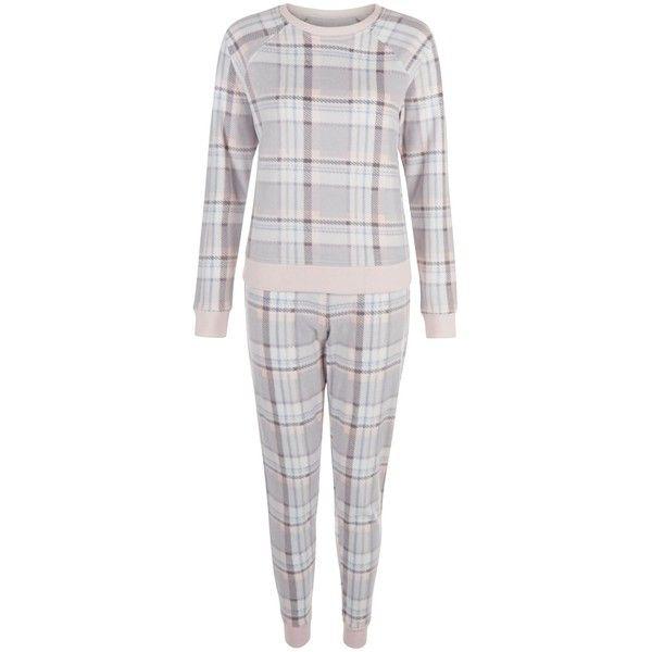 New Look Teens Light Grey Check Pyjama Set (78 BRL) ❤ liked on Polyvore featuring intimates, sleepwear, pajamas, light grey, long sleeve pajama set, long sleeve pyjamas, long sleeve pajamas and long sleeve sleepwear
