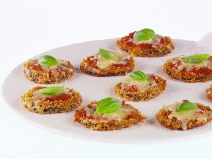Mini Eggplant Parmesan appetizer. Cocktail party, holiday party. Wine tasting. Recipe by Giada de Laurentiis.