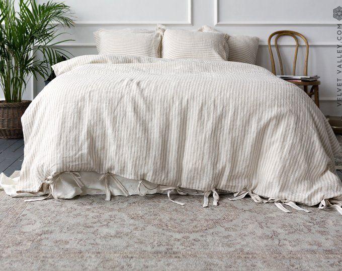 Linen Duvet Cover Stone Washed Super Soft Natural Organic 100 Etsy In 2020 Pinstripe Bedding Comforter Cover Linen Duvet