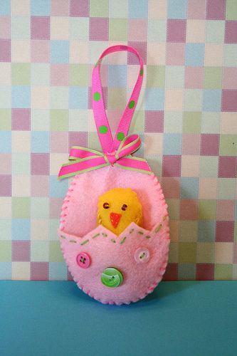 Spring Chicken Felt Ornament