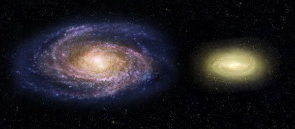 This artist's concept shows what the young, 'dead,' disk galaxy MACS 2129-1 (right) would look like when compared with our Milky Way Galaxy (left). Although three times as massive as the Milky Way, it is only half the size. MACS 2129-1 is also spinning more than twice as fast as the Milky Way. Note that regions of the Milky Way are blue from bursts of star formation, while MACS 2129-1 is yellow, signifying an older star population and no new star birth. Image credit: NASA / ESA / Z. Levy…