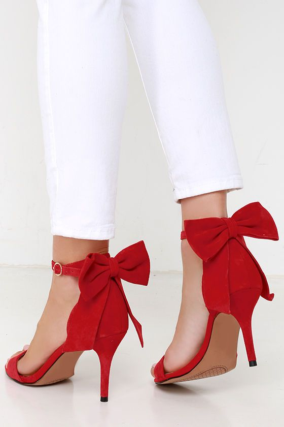 Jessica Simpson Millee Lipstick Red Suede Bow Heels at Lulus.com!