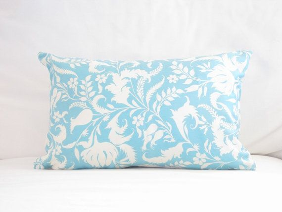 Light Blue Patterned Throw Pillow : Light Blue White Floral Pillow Cover, Blue Chair Pillows, 12x18 inch lumbar pillow ,Blue Floral ...