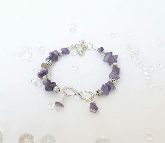 Infinity Amethyst Braceletnatural gemstone by DelabudCreations