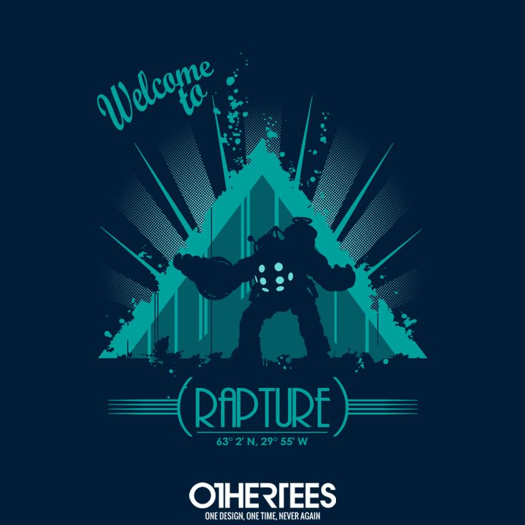 """""""Welcome to Rapture"""" by Raki T-shirts, Tank Tops, V-necks, Sweatshirts and Hoodies are on sale until December 20th at www.OtherTees.com #bioshock #bioshock2 #rapture #gaming #games #othertees"""