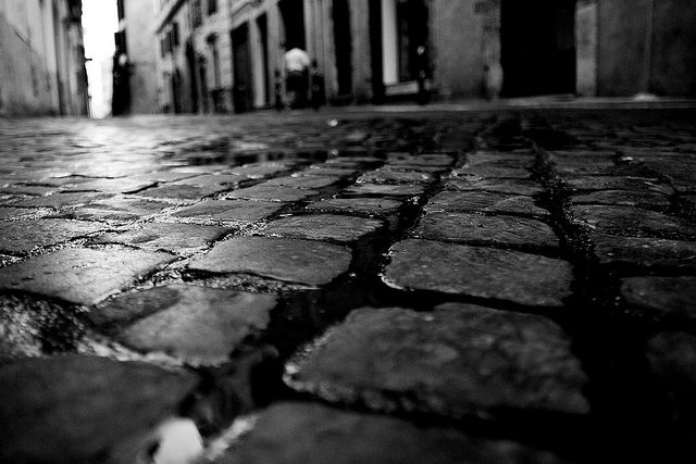 low angle cobble street | Black and White Photography ...