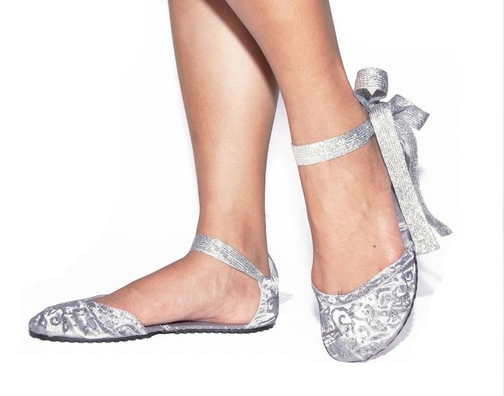 Silver Foldable Ballet Flats Shoes