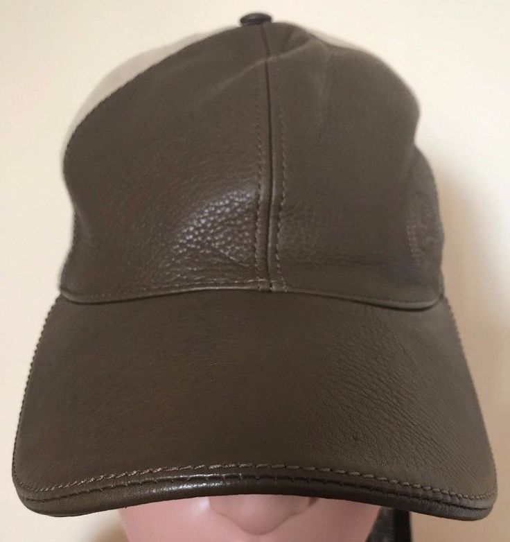 Gucci Mens Brown And Beige Leather And Fabric Baseball Hat Cap Size X-Large #Gucci #BaseballCap