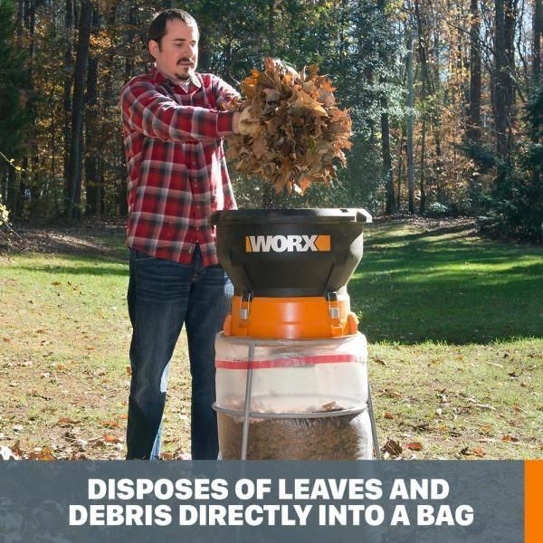 Worx 6 8 In 13 Amp 2 Hp Leaf Mulcher Wg430 The Home Depot Organic Mulch Leaf Clean Up Worx Leaf Mulcher