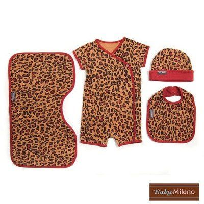 4 Piece Baby Clothes Gift Set in Leopard Print Size: 6-12 Months