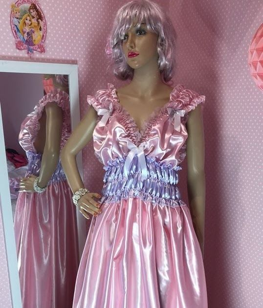 SILKY WET LOOK GLOSS SATIN LONG RUFFLED FLOWING SISSY MAID BRIDE NEGLIGEE