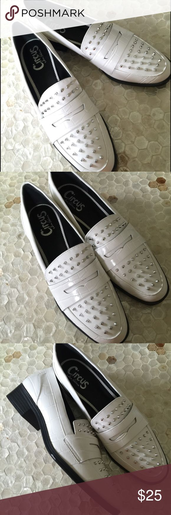 "NWOB Circus by Sam Edelman White Studded Loafers New without box! Never worn in great condition. Circus by Sam Edelman White studded 1.5"" heel shoes. Circus by Sam Edelman Shoes Flats & Loafers"
