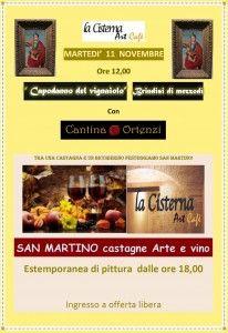 """""""San Martino: Castagne, Arte e Vino – Estemporanea di Pittura""""  A #Fermo - La Cisterna Art Cafè """"Capodanno del Vignaiolo""""  Martedì 11 novembre, ore 18:00"""