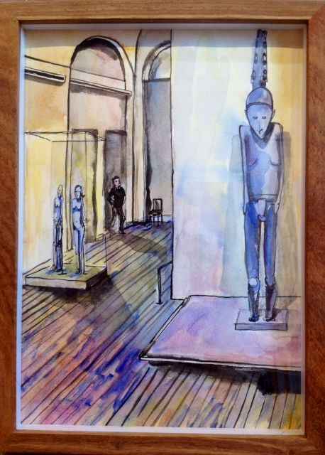 'Wandering African, Louvre'   Ink Drawing  & Watercolour 290 x 210 m  m R 2 200 SOLD