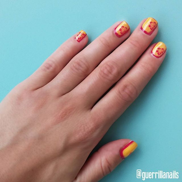 Reverse French tropical manicure! #kiko quick dry base coat, #pupa lasting color polish, in yellow and fuchsia, #mavala mavadry finish. Stencils by #essence. See you on Facebook!  https://m.facebook.com/guerrillanailsshop