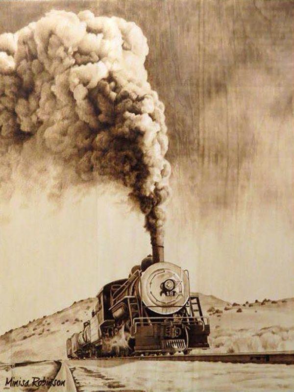 Train Pyrography Art