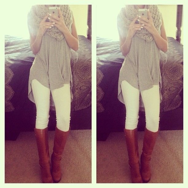 White pants, long sheer tunic, boots and infinity scarf. ...