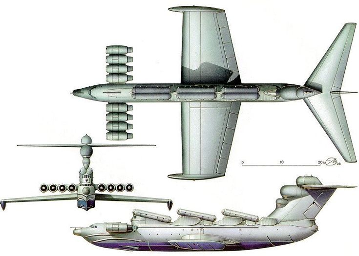 Equipped with eight engines Kuznetsov NK-87 MD-160 which gave a top speed of 550 mph and a load capacity of 1000 tons, its mission was to carry and launch nuclear missiles P-270 Moskit for leading six launch tubes on the fuselage.