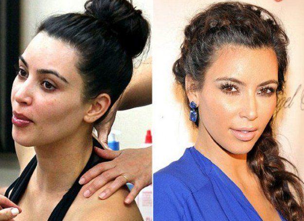 Kim Kardashian Before and After Makeup Look #celebritymakeuplooks
