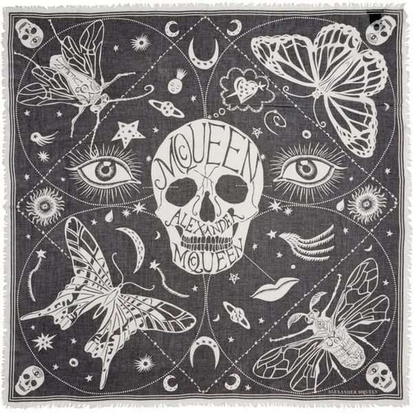 Alexander McQueen Black and White Silk Zodiac Skulls Scarf ($375) ❤ liked on Polyvore featuring accessories, scarves, alexander mcqueen, pure silk scarves, black and white shawl, skull shawl and fringe scarves