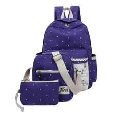 2016 New Canvas Girl School Bags For Teenagers backpack women Three piece suit shoulder bags 3 Pcs/Set rucksack mochila knapsack(China (Mainland))