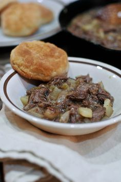 Southern Roast Beef Hash-My mom used to make this with left over roast beef.  Awesome over split biscuits!
