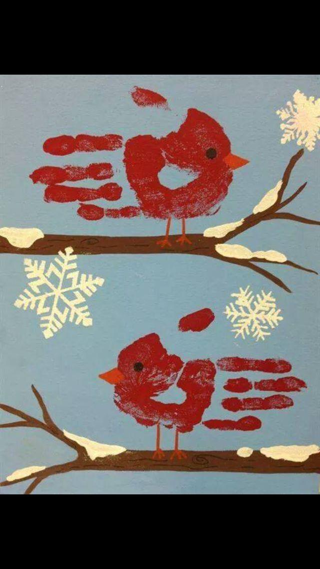 Robin hand print Christmas picture - Christmas card ideas
