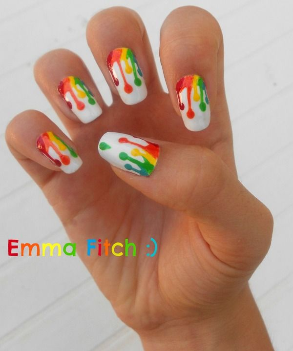 """Solid white nails with rainbow """"paint drip"""" design. Free hand nail art"""
