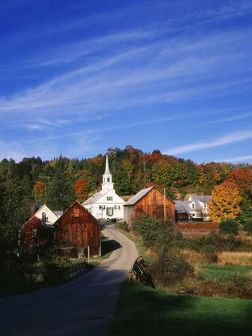 Waits River, View of Church and Barn in Autumn, Northeast Kingdom, Vermont, USA Photographic Print by Walter Bibikow