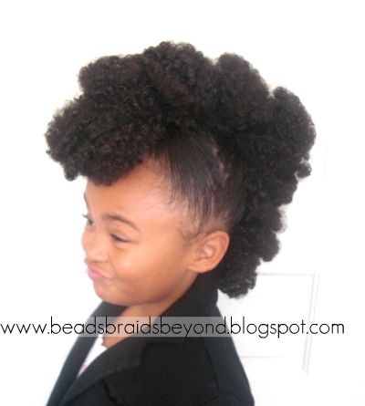 <3 the lil' girl's face...lol...Fun Hair In 5 Minutes - Textured Faux Hawk