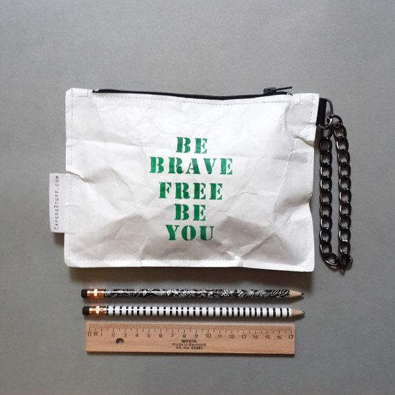 be brave free Accessory Case Zipper Pouch Gift by PapersStuffCom