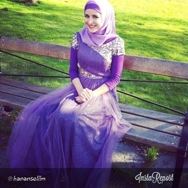 purple hijab evening dress