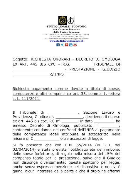 Studio Legale Buonomo - Diritto Previdenziale ed Assistenziale: Facsimile richiesta corresponsione compensi di cau...