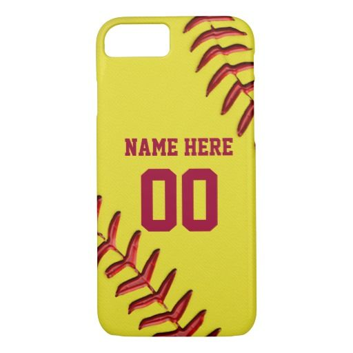 Softball iPhone 6 Cases with Your NAME and NUMBER