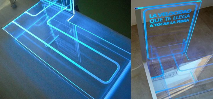 On Target diseña y fabrica un display en metacrilato con luz filtrante. Detalle iluminación.