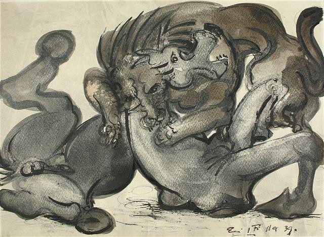 Emil Filla, Přepadení, 1939, kresba tuší,