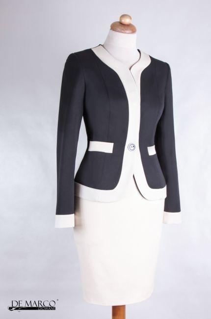 9a8cc5f05b Śmietanowo - czarny żakiet Chanel. Kostium biznesowy zawsze w modzie.   demarco  frydrychowice