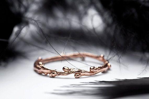 trouwring in 14k rose goud slanke stapelen ring takje tak