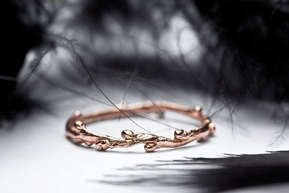 14k rose gold ring - skinny stacking ring - twig wedding band - In Her Dreams