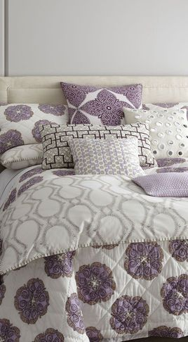 """Purple and grey bedding, when paired with an over sized pattern give you a retro look with out being """"dated"""" #ExclusivePlum"""