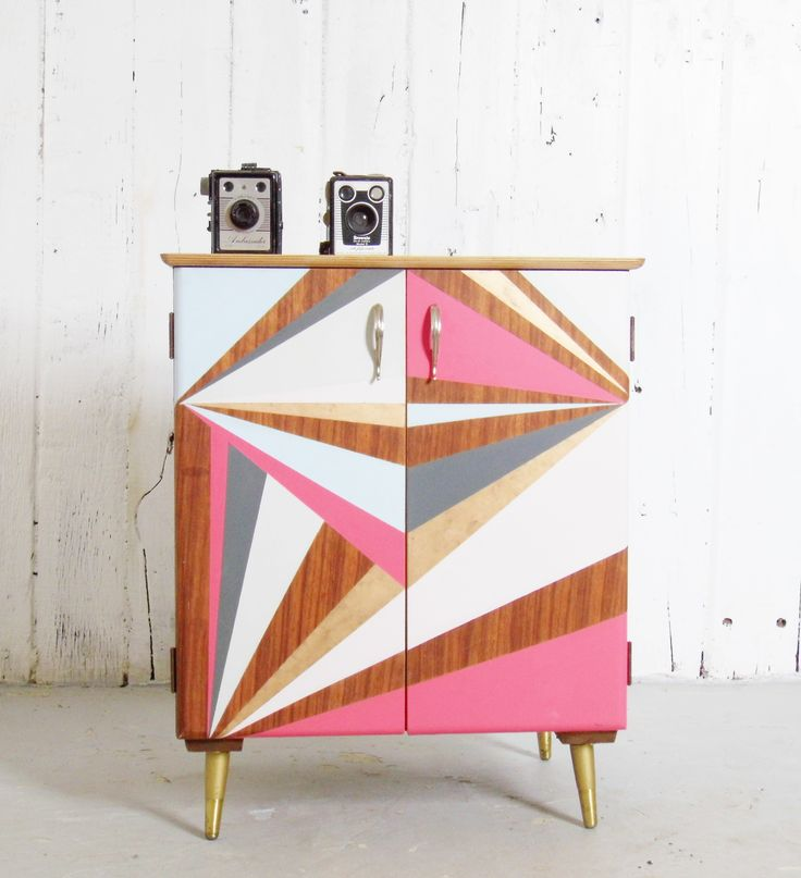 New Record Cabinet, Geometric Painted Vinyl Storage. Mid Century Inspired Furniture by The Vintageware Store
