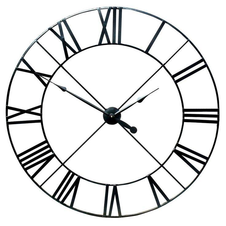 Extra Large Black Metal Wall Clock (110cm)