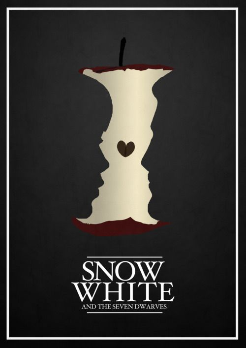 JOANNA This poster design portrays how visual metaphor can be used for 'Snow White'. As the 'apple' is a symbol which is infamous of the story, an apple core symbolises the dark events which are to occur within the narrative.