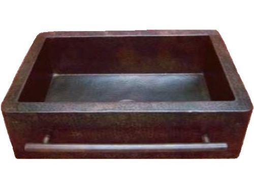 Copper-Farmhouse-Sink-with-Towel-Bar-25x22x9-034-Small-Dark-Brown-Patina