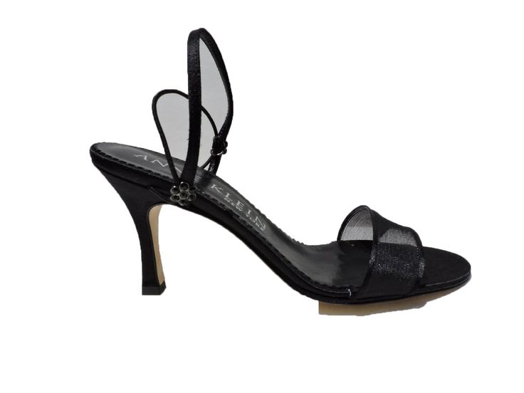 Anne Klein New York NY Womens Nicaa Black Ribbon Heels Sandals Open Toe Size 9.5 M. black flower jewel on rear straps. Leather soles. Made in Italy.