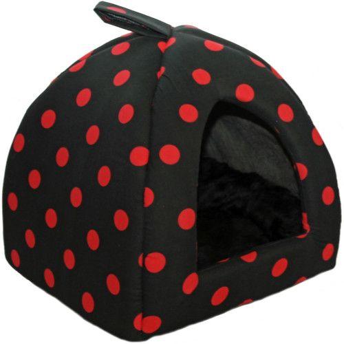 Cosipet Polka Dot Cat Igloo Black & Red